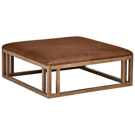 stone beam norah leather  wood square ottoman