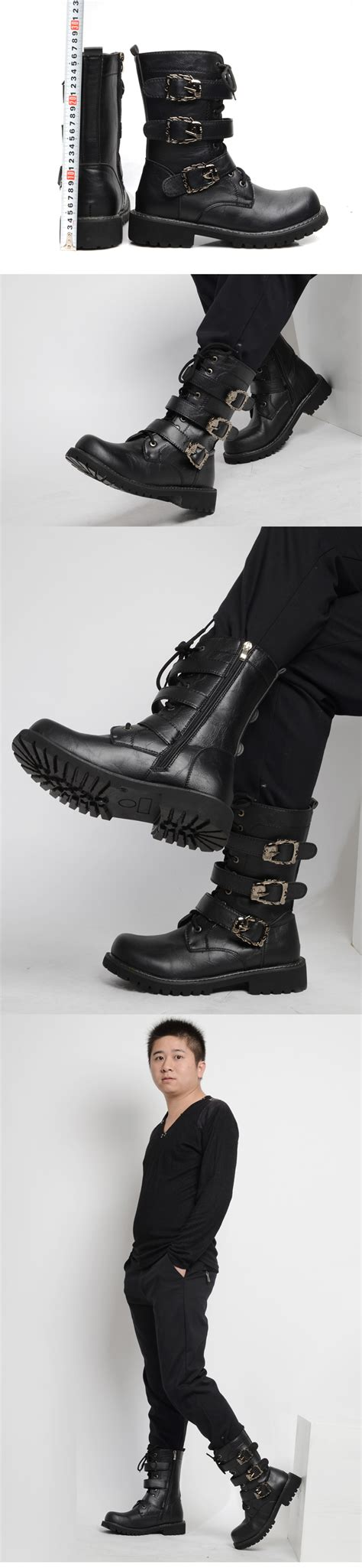 men s punk rock black white pattern gothic goth emo punk rock mens black goth punk rock band buckle boots a605
