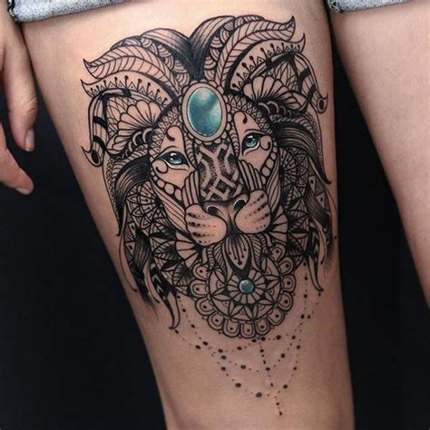 collection of 25 mandala right thigh tattoo