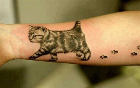 small butt tattoo a leaves paw prints on owners arm in this