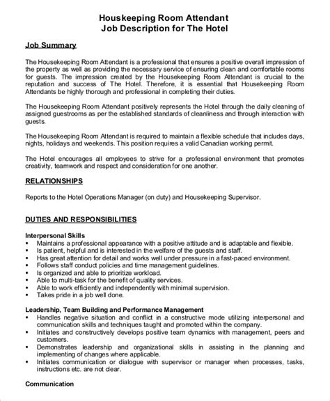 commercial model job description housekeeper job description exle 14 free word pdf