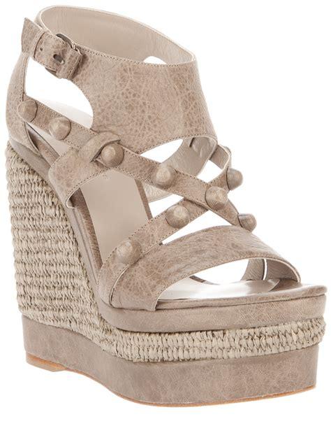 balenciaga wedge sandals balenciaga wedge sandal in gray grey lyst