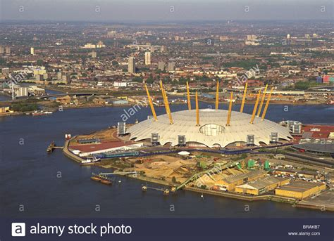 thames river greenwich aerial image of the millennium dome and the river thames