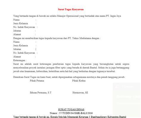 Contoh Surat Penugasan Kerja by Contoh Surat Tugas Dinas Yang Baik Dan Benar Revisi 2017