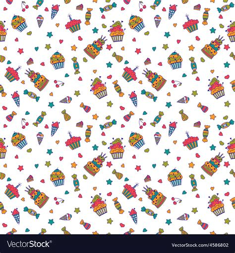 cute pattern passwords cute sweet seamless pattern birthday background vector image