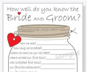 How Well Do You The Template by How Well Do You The And Groom Printable Cards