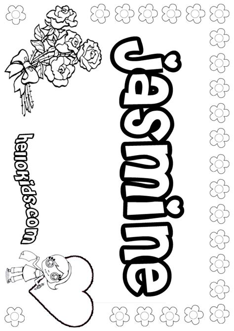 coloring pages of the name jasmine girls name coloring pages jasmine girly name to color