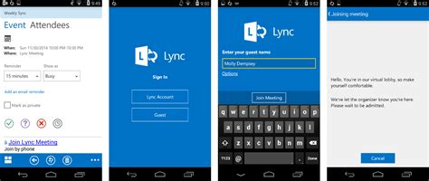 lync for android new lync features for android anonymous join passive
