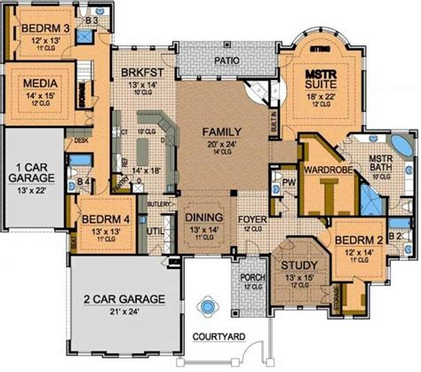 awesome one story floor plan a interior design