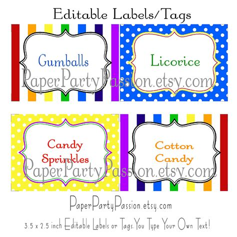 printable buffet labels 8 best images of candy buffet tags printable free