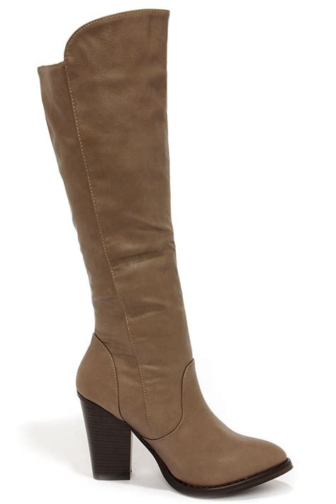 taupe boots knee high boots high heel boots 40 00