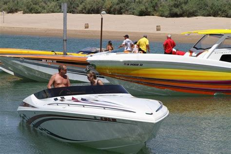 high performance boats lake havasu boaters arrive for desert storm mingle at pirate cove