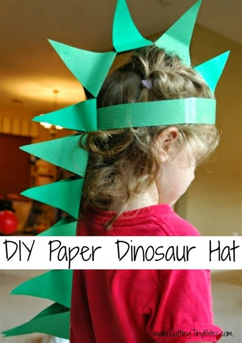 How To Make A Dinosaur Hat Out Of Paper - cutting tiny bites diy paper dinosaur hat