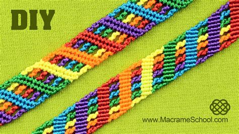 Macrame School - colorful rainbow bracelet tutorial macrame school