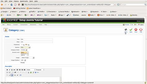joomla component page how to manage component categories in joomla page
