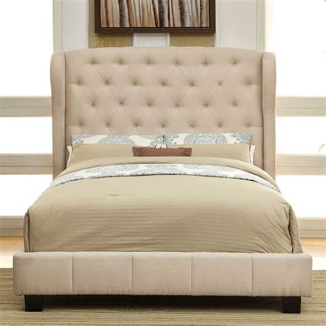 fabric bed frame queen queen size fontes ivory wingback padded flax fabric bed frame