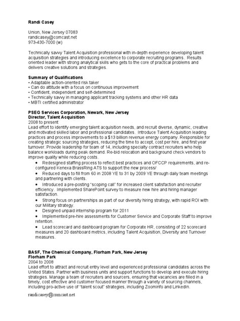 Talent Resume Template by Resume Talent Acquisition Resume