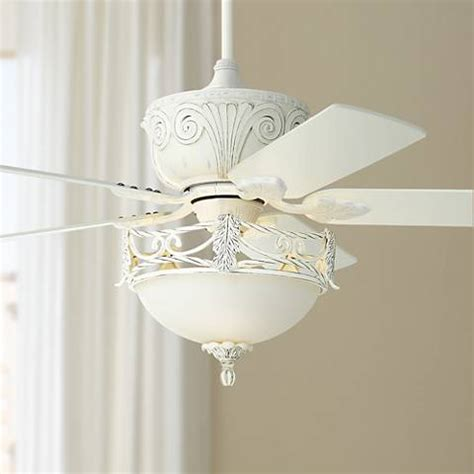 Casa Deville Rubbed White Ceiling Fan With Light 87534