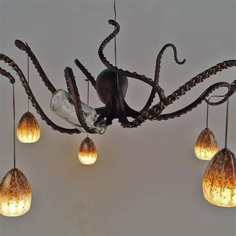 Drunk Octopus Chandelier Lit Up Octopi Lighting Octopus Light Fixture