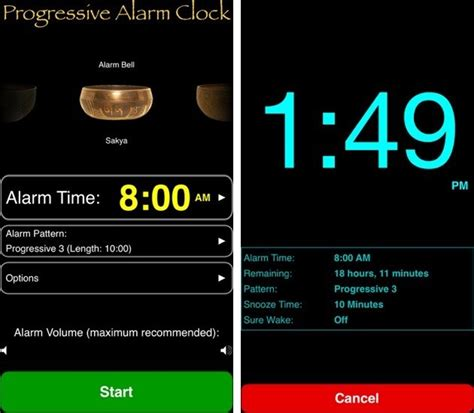 progressive alarm clock wakes you with fade in sound offers custom snooze times ios hacker