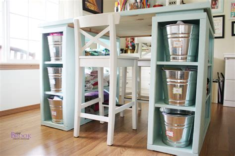 Craft Table With Storage | ana white modern craft table aqua diy projects