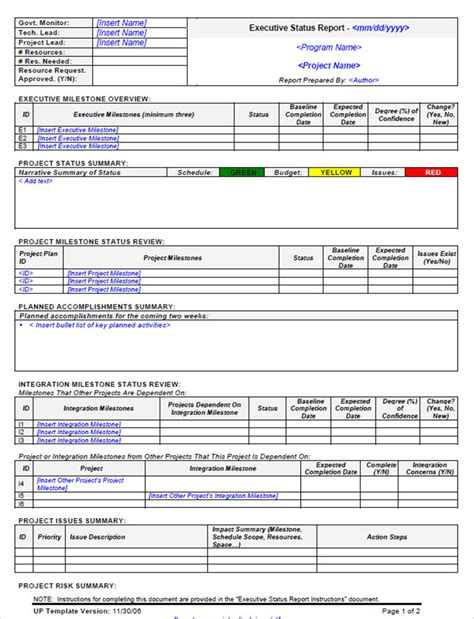 weekly report template doc executive weekly status report template and format exle