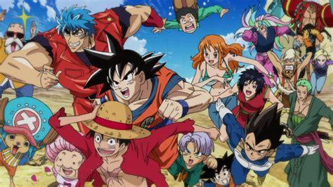 goku and luffy vs toriko luffy goku toriko and the squad race for food by