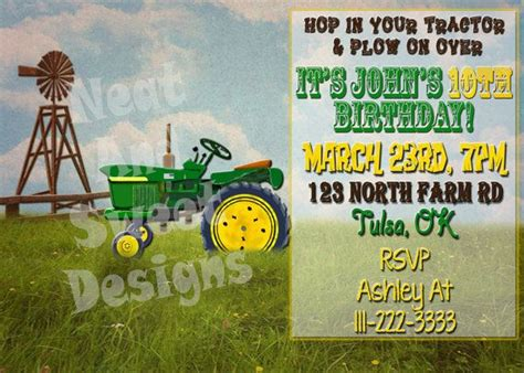 printable john deere birthday invitations free 5 x 7 printable tractor birthday invitation john deere