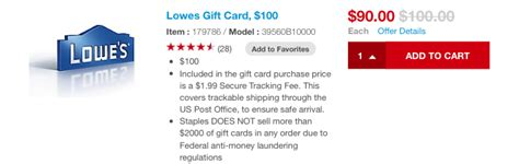 What Gift Cards Does Lowes Sell - staples discounted lowe s gift cards points miles martinis