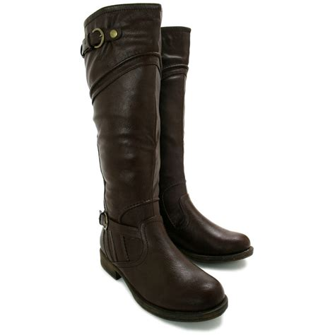 wide calf knee high boots new womens block heel buckle knee high wide calf biker