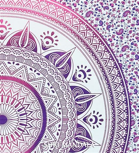 pink purple ombre mandala tapestry wall hanging throw