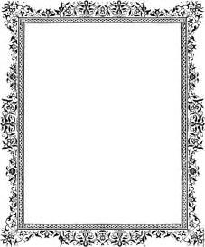 Flower News Journal Download - decorative clip art victorian border black and white
