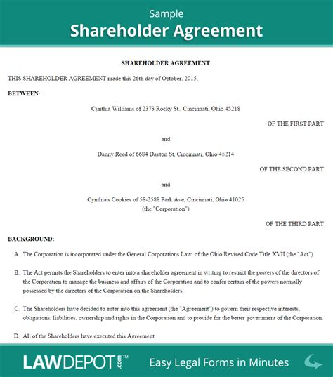 shareholder agreement form us lawdepot