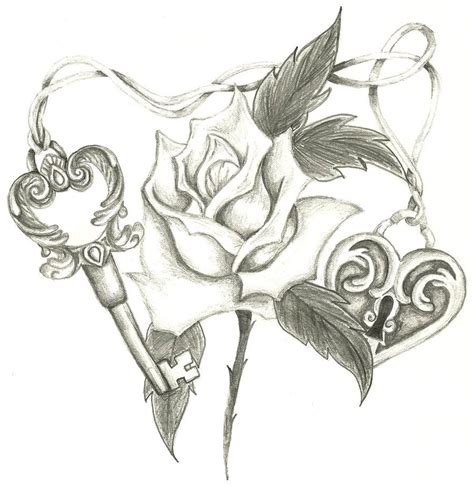 heart lock rose tattoo lock skeleton key by holliewood1391 on deviantart