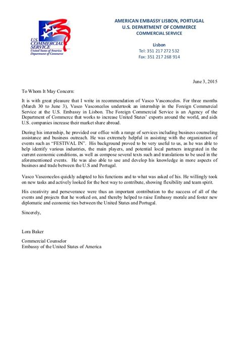 Letter To The Embassy Letter Of Recommendation Us Embassy