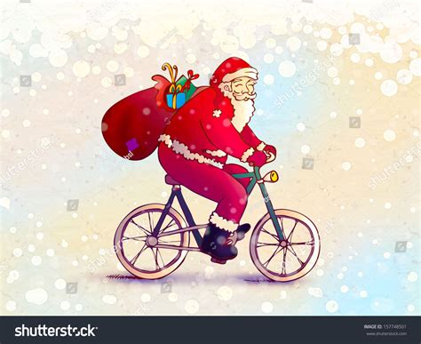 santa claus riding bike stock illustration 157748501