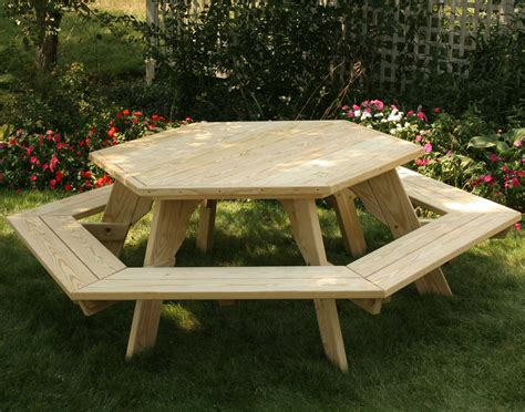 picnic bench table treated pine hexagon picnic table