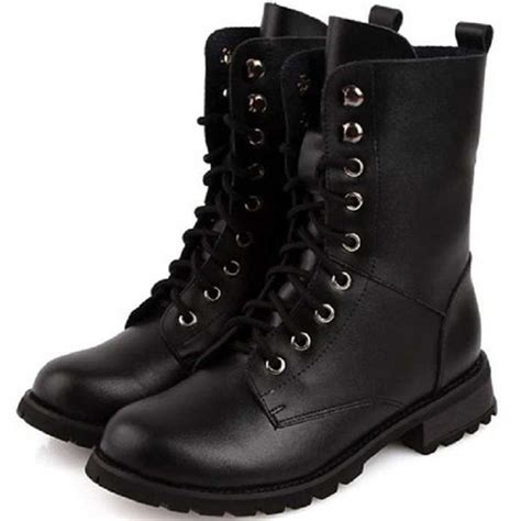 s boots size 5 s retro black leather solid combat ankle
