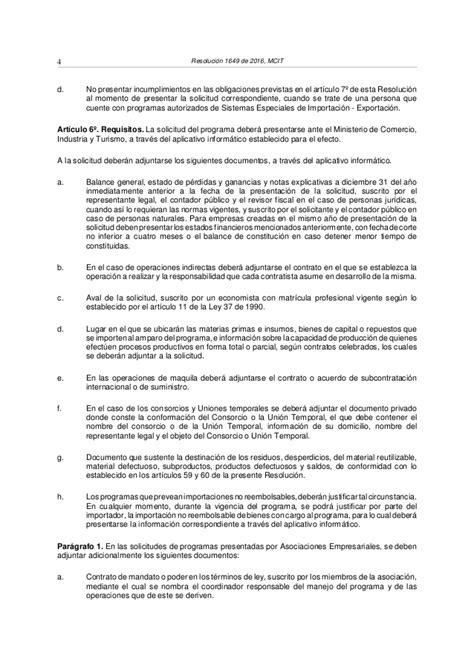 resolucion ganancias 2016 resolucion 1649 2016 mcit