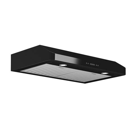 black stainless under cabinet range hood winflo 30 in 250 cfm under cabinet range hood in black
