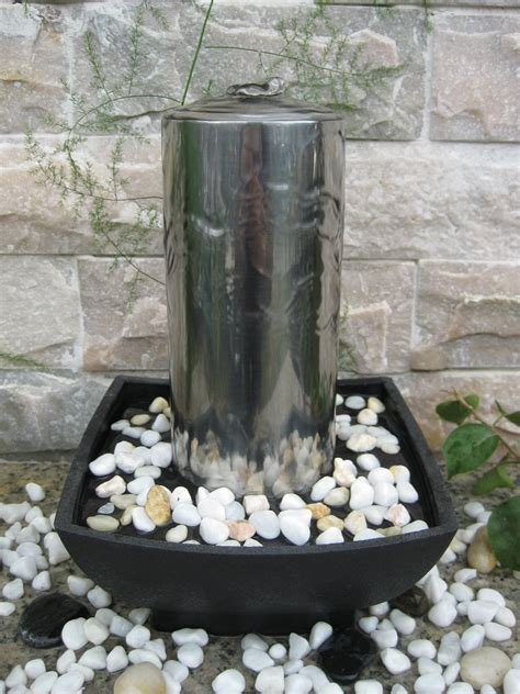 akra stainless steel table top indoor water feature