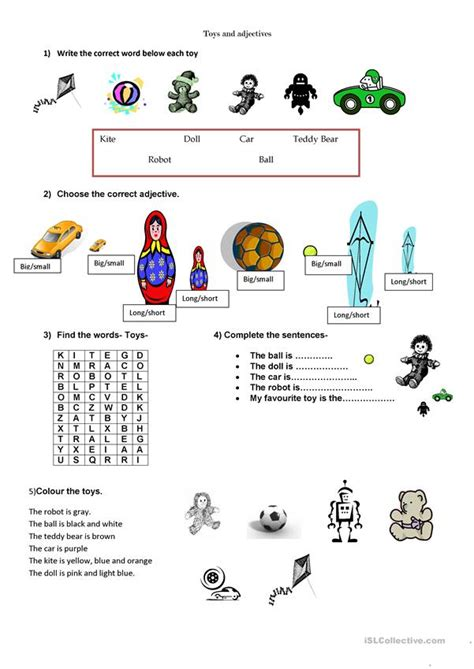 toys and adjectives worksheet free esl printable