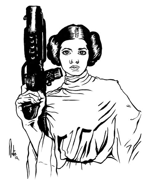Princess Leia By Natelyon On Deviantart Princess Leia Drawings Free Coloring Sheets