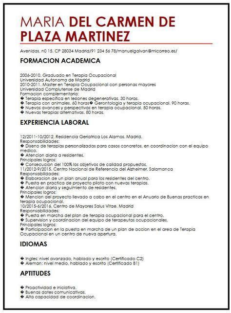 Modelo Curriculum Vitae Para Hosteleria modelo de cv para trabajo de verano muestra curriculum vitae