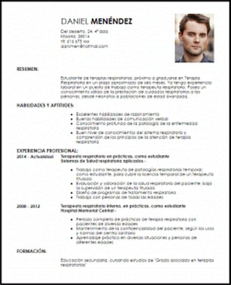 Plantilla De Curriculum Vitae Estudiante Modelo Curriculum Vitae Estudiante De Terapias Respiratorias Livecareer