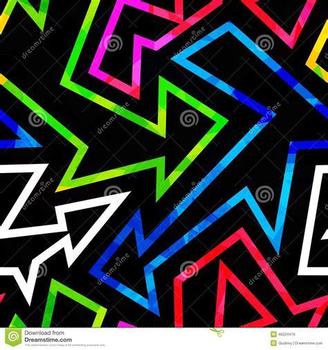 geometric neon pattern neon geometric seamless pattern with grunge effect stock