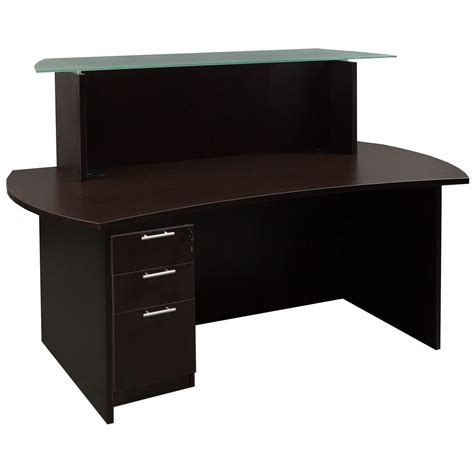 Laminate Reception Desk Everyday Glass Top Laminate Reception Desk Espresso National Office Interiors And Liquidators