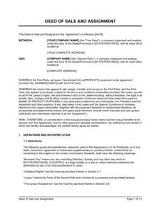 Deed Of Ownership Template by Deed Of Sale And Assignment Lease Template Sle Form