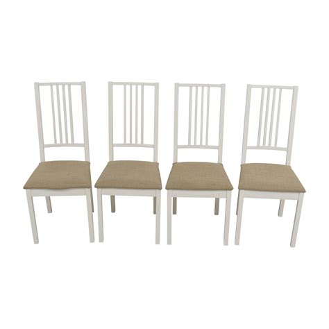 77 Off Ikea Ikea White With Tan Upholstered Dining Ikea Usa Dining Chairs