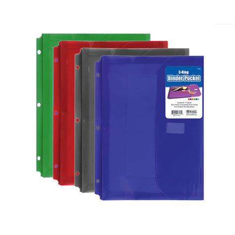 3 ring binder pockets assorted colors mazer wholesale